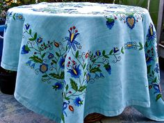 need to make one of these for myself - Vintage Linen Tablecloth Swedish Embroidery Blue by dyenah on Etsy