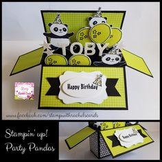 Super cute Party pandas card in a box card i made using Stampin' Up! Party pandas stampset & Tutti Fruitti dsp. I just love this stampset & dsp! And these colours are just gorgeous!! My design, Stamp With Rachel's Cards.
