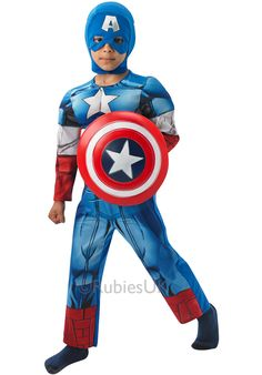 Official Boys Captain America Fancy Dress Costume - complete with shield. Only Perfect for a superhero birthday or July party Captain America Fancy Dress, Costume Captain America, Captain America Party, Childrens Fancy Dress, Superhero Theme Party, Costumes For Sale, Marvel, Avengers, Branding