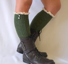 BS5340- Green leg warmers with lace trim and buttons chunky leg warmers boot socks yoga socks gifts birthday women's fashion christmas gifts