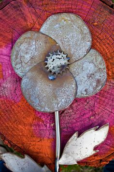 Metal Garden Flower Decor Giant Flower Yard Stake Naked by hiSIS, $43.00