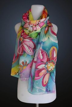This is my favourite silk scarf. quite big scarf (70x200 sqcm) and colorful too... <br /> custom ordered, special for Martha Lazuarditya