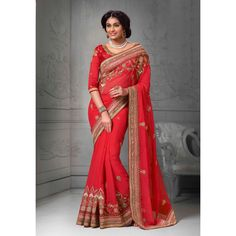 Red Chiffon Bridal #Saree With Blouse- $98.85