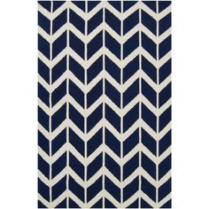 Fallon Zig Zag Federal Blue Hand Woven Wool Rug