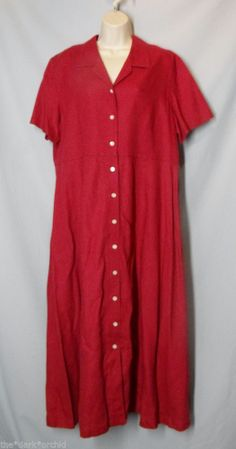 * EDDIE BAUER size XL light red LINEN DRESS Shirtwaist Button Front Short Sleeve
