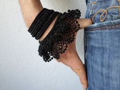 Black bracelet - beaded crochet cuff bracelet with beaded flowers and black crochet lace - Scabiosa Columbaria by irregularexpressions