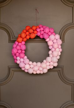 Bright fabric ball wreath