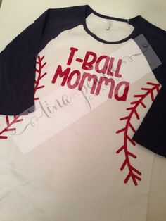 Show your support for your T-ball player and look cute while you do it! This listing is for a raglan sleeve shirt with heat-pressed, glitter