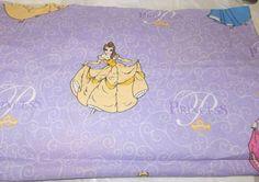 Disney Princess cotton sewing fabric Cinderella Aurora Snow White Belle glitter #Disney