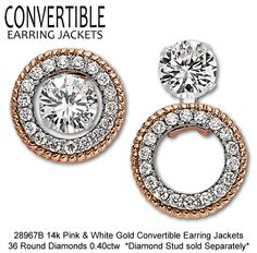 Make your studs stand out! Our Convertible Earring Jackets allow you to wear your studs three different ways!  Visit a Gottlieb & Sons dealer to see how they look on you!