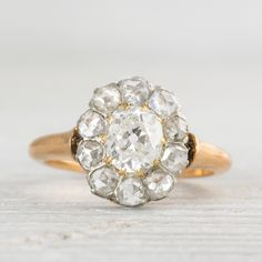 Edwardian Diamond Cluster Gold Engagement Ring
