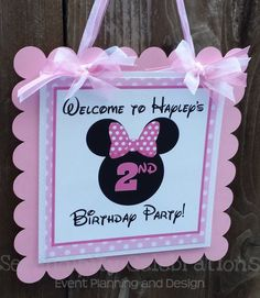 Personalized Door Sign Girl Mouse Ears by SerendipityPartyShop Minnie Mouse Theme Party, Minnie Mouse Birthday Decorations, Minnie Mouse Birthday Outfit, Minnie Mouse Baby Shower, First Birthday Party Decorations, Mickey Mouse Birthday, 2nd Birthday Parties, First Birthdays, Mouse Ears