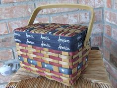 America Wicker Basket, Patriotic Picnic Basket, Beach Picnic Basket, 4th of July Basket, Wicker Basket with Lid, Red White and Blue Wicker by BeautyMeetsTheEye on Etsy