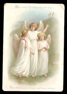 R02 Large Victorian Religious Easter Card Angels Artist E F Manning | eBay