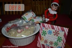 Elf on the Shelf brings North Pole dirt (oatmeal) and seeds (peppermints) to plant and sprinkle fertilizer (sprinkles) have the kids wait for candy canes to grow.  So cute!