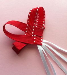 Valentines Red Heart Hair Bow by sugarjewels on Etsy, $3.00