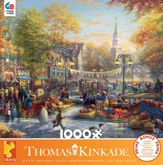 This Ceaco Puzzle features a Thomas Kinkade painting of a small town pumpkin themed festival. x puzzle size when completed. Made in the USA Gender: unisex. Thomas Kinkade Puzzles, Kinkade Paintings, Disney Puzzles, Animal Puzzle, Puzzle 1000, Dragon's Lair, Beautiful Streets, Small Towns, Jigsaw Puzzles