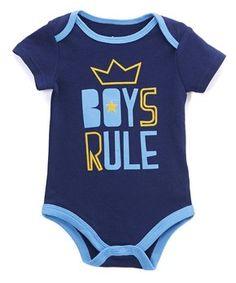 Navy 'Boys Rule' Bodysuit - Infant