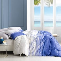 Shop for Ombre Ocean Purple Navy Duvet Cover. Get free delivery On EVERYTHING* Overstock - Your Online Fashion Bedding Store! Bed Duvet Covers, Duvet Cover Sets, Unique Duvet Covers, Duvet Sets, Navy Duvet, Comforter, Online Bedding Stores, Duvet Cover Design, Single Duvet Cover