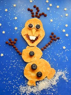 Blueberries, chocolate chips and pancake - what more could you want from a snowman? #prizepancake