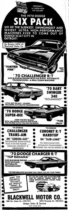 """Just A Car Guy : classic 1970's """"groovy"""" advertising for Six Pack cars, Jay has found some really cool forgotten advertising!"""