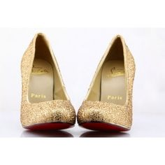 gold heel with red soles rhinestone 100mm pumps