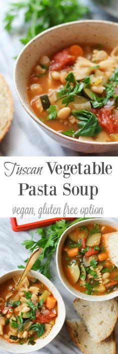 Tuscan Vegetable Pasta Soup {vegan, gluten free option} // pumpkinandpeanutbutter.com