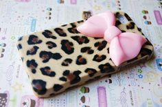 I NEED THIS! Leopard Cheetah Print with Large Pink Bow iPhone Cell Phone Case #pinparty