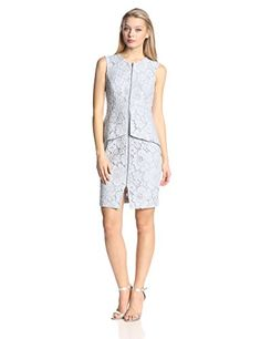 BCBGMAXAZRIA Womens Elana Lace Peplum Sheath Dress Blue Smoke 4 -- To view further for this item, visit the image link.