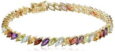 18k Yellow Gold-Plated Sterling Silver Multi-Gemstone Marquise Tennis Bracelet, 7.25' * Read more reviews of the product by visiting the link on the image.