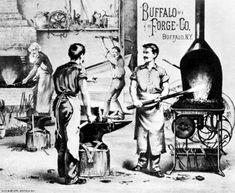 Buffalo Forge Co. is a lithograph by Gies and Co. of Buffalo, New York, dated about Blacksmith Tools, Blacksmithing, Buffalo, History, Photograph, Fire, Blacksmith Shop, Photography, Photographs