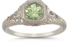 ApplesofGold.com - Vintage Filigree August Peridot Ring in .925 Sterling Silver Jewelry $145.00