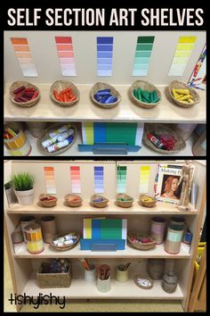 Our new art self selection shelves.
