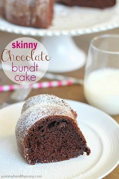 Skinny Chocolate Bundt Cake - delicious lower-fat bundt cake that's made with a cake mix, sugar-free pudding, applesauce and greek yogurt. S...