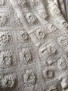 Vintage Large Handmade Off White Crochet Blanket