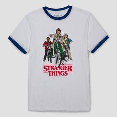 Men's Stranger Things Group Shot Ringer Graphic T-Shirt - White Xxl