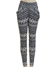 Take a look at this Black Tribal Harem Pants - Women by Shosho Fashion on #zulily today!