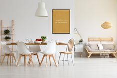 Find Stylish White Studio Apartment Dining Room stock images in HD and millions of other royalty-free stock photos, illustrations and vectors in the Shutterstock collection. White Living Room Set, Living Room Sets, Room Interior Design, Living Room Interior, White Studio Apartment, Rental Home Decor, Poster Design, Custom Home Designs, Diy Décoration