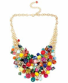 Haskell Gold-Tone Multi-Colored Bead Cluster Frontal Necklace - Fashion Jewelry - Jewelry & Watches - Macy's