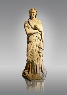 Greek Late Hellenistic marble statue of Baeria, from Magnesia AD Maeandrum ( Menderes Manisasi ), temple of Athens, Turkey. Mid 1st cent. B.C .  Istanbul Archaeological museum