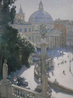 Rome Square (oil, 24×18) by David Curtis. Read 'The Banged-On Brushwork of Oils and the Fluidity of Watercolor' at ArtistsNetwork.com. ~ch #Landscape #Painting
