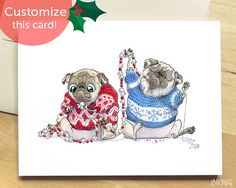 Deck the Halls Funny Christmas Card with Pugs  Festive by InkPug $3.95 USD