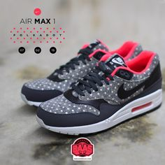 """#nike #air #max #one #polkadot #sneakerbaas #baasbovenbaas Nike Air Max 1 Leather Premium """"Polka Dots"""" - Now available online, priced at € 139,95 - Sizes 38.5-47.5 EU For more info about your order please send an e-mail to webshop #sneakerbaas.com!"""