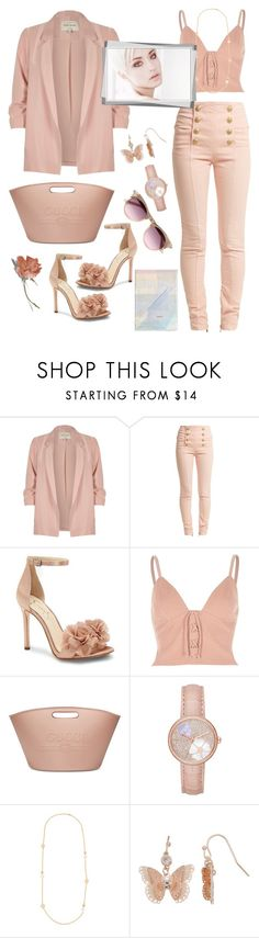 """""""Casual Saturday afternoon!"""" by nova5ta5ia ❤ liked on Polyvore featuring River Island, Balmain, Jessica Simpson, Chanel, Gucci, Michael Kors, Tory Burch, LC Lauren Conrad, ASOS and lightpink"""