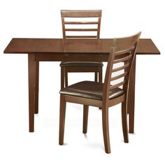 Mahogany TableA Leaf and 2 Kitchen Chairs 3-piece Dining Set