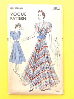 1930s Evening Dress Vogue 8021 Gown Pattern 30s Frock by Fancywork