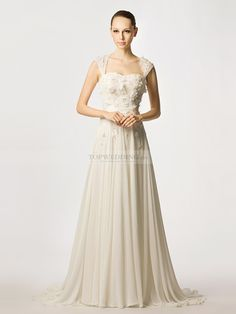 Cap Sleeved Floral and Beading Detailed Chiffon A Line Wedding Dress