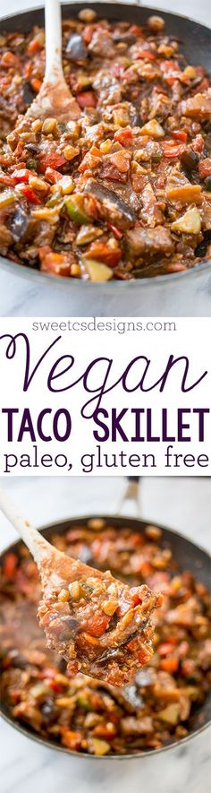 "Paleo Vegan ""Meaty"" Taco Skillet - Yum! I used a whole taco seasoning packet, since 2 Tbsp used almost all of it. And had to leave out my walnuts because they smelled stale, but it actually needed it for add'l texture. And I used a whole can of Rotel (10 oz) since my eggplant was huge! Yum, tho!! :)"