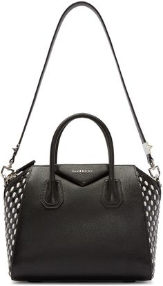 615fc4538f62 GIVENCHY Black Woven Small Antigona Bag.  givenchy  bags  shoulder bags  hand  bags  leather