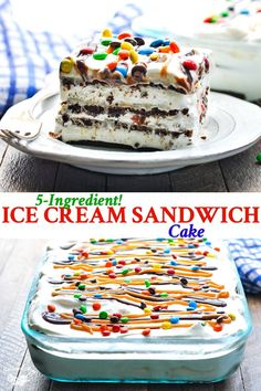 This Ice Cream Sandwich Cake is a no bake easy dessert recipe that'. This Ice Cream Sandwich Cake is a no bake easy dessert recipe that's perfect for your next summer party! Plus, it only requires about 10 minutes of prep! Ice Cream Desserts, Frozen Desserts, Ice Cream Recipes, Easy Desserts, Delicious Desserts, Summer Dessert Recipes, Dessert Healthy, Ice Cream Cakes, Indian Desserts